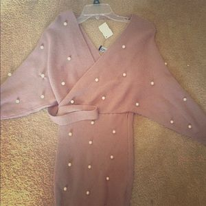 Dress sweater dress with pearls